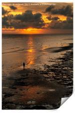Watching the Sunset, Worthing Beach, Print