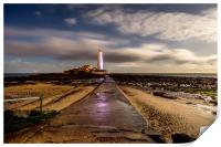 Lighthouse bathed in moonlight, Print