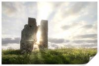 Bawsey church ruin with etherreal sunlight in Norf, Print