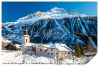 Argentiere village and church in winter. , Print