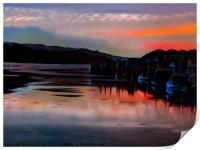 Sunset Hayle Harbour Cornwall , Print