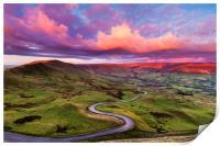 Edale road, Peak District. , Print