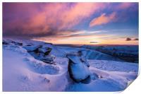 Winter sunrise over Ringing Roger rocks, Kinda Sco, Print