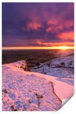 Sunrise over a winter wonderland, Derbyshire, UK , Print