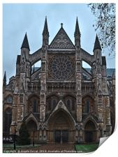 Westminster Abbey facade in London, Print