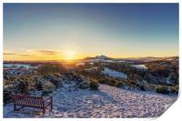 Snow over Scott's View, Melrose, Print