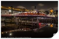 Swing Bridge at Night, Print