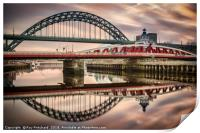 Tyne and Swing Bridges Reflected, Print