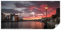 Sunset over the River Tyne, Print
