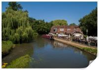 Riverside Pub & Canal Narrow Boat .Pyrford Lock Su, Print