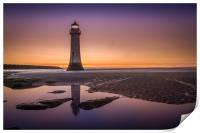 Twilight Reflection, New Brighton Lighthouse, Print