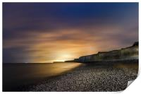 Seven Sisters at Night from Birling Gap , Sussex, Print