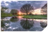 Sunset at Dedham Vale, Suffolk and Essex Border, Print