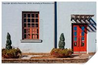 Red Window And Door On A Blue Wall, Print