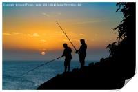 Two Men Fishing at Shore, Print