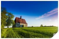 Old church in the summer field. Dobronice u Bechyn, Print