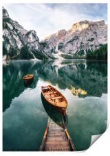 Braies lake in Dolomites, Italy, Print