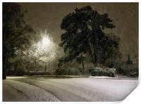 A Cheshire snow scene., Print