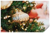 Colorful Christmas Tree Baubles Closeup, Print