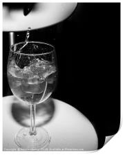 glass with ice cubes on white background, Print