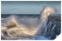 Tynemouth stormy sea!, Print