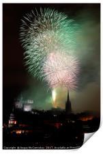 Edinburgh Festival Fireworks from Salisbury Crags, Print