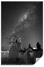 Milky Way and Parinacota Church Monochrome Chile, Print