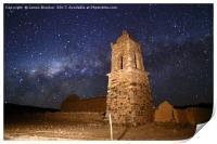 Ruined Church Tower and Milky Way Bolivia, Print