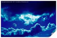Blue clouds and moon, Print
