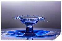 Blue bowl shaped water drop collision, Print