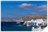 Mykonos, Greece Little Venice (Aleykantra) day vie, Print
