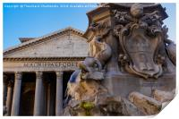 Rome, Italy Fountain of the Pantheon detail., Print