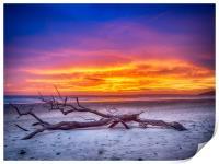 Desolation on Pendine Sands at Sunset., Print