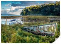 A Colourful Old Boat - Laugharne Estuary. , Print