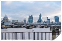 London City View from The Queen's Walk, South Bank, Print
