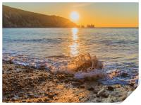 Winter sun setting at Alum Bay, Print