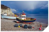 Beer, East Devon, Fishing Boats on Beach, Print