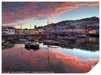 Brixham Sunset in August                       , Print