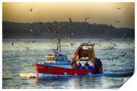 Trawler Heading for Port                  , Print