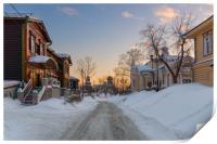 The ancient street of the Siberian town, Print