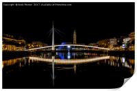 Bassin du Commerce At Night In Le Havre, France., Print