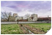 Sunset over the Hospital of St Cross, Winchester, , Print