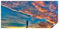 Lone Pine orange sunrise cloud., Print