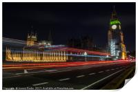 London bus across Westminster Bridge, Print