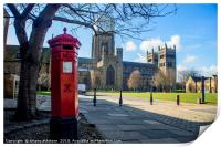 Durham Cathedral's Red Pillar Box , Print