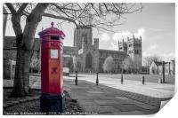 The Little Red Pillar Box in Durham, Print