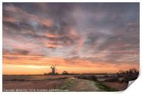 Midwinter Sunrise  -  Tower Windmill , Print