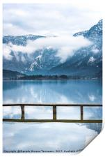 Alps mountains reflected in water, Print