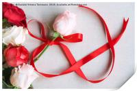 Roses and red ribbon in shape of infinity, Print
