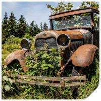 Rusty old Ford car, Print